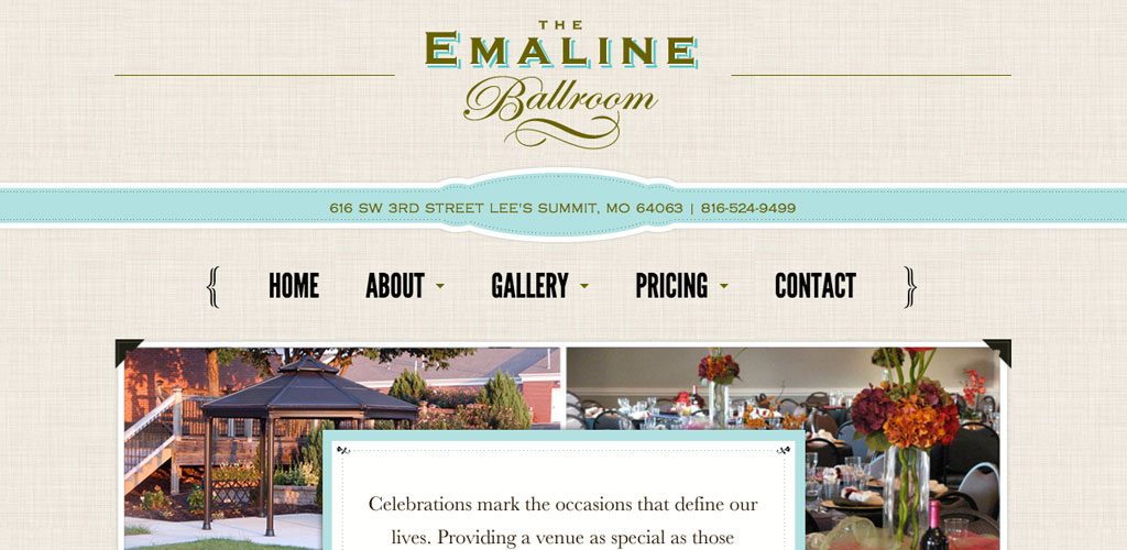 The Emaline Ballroom Website Design