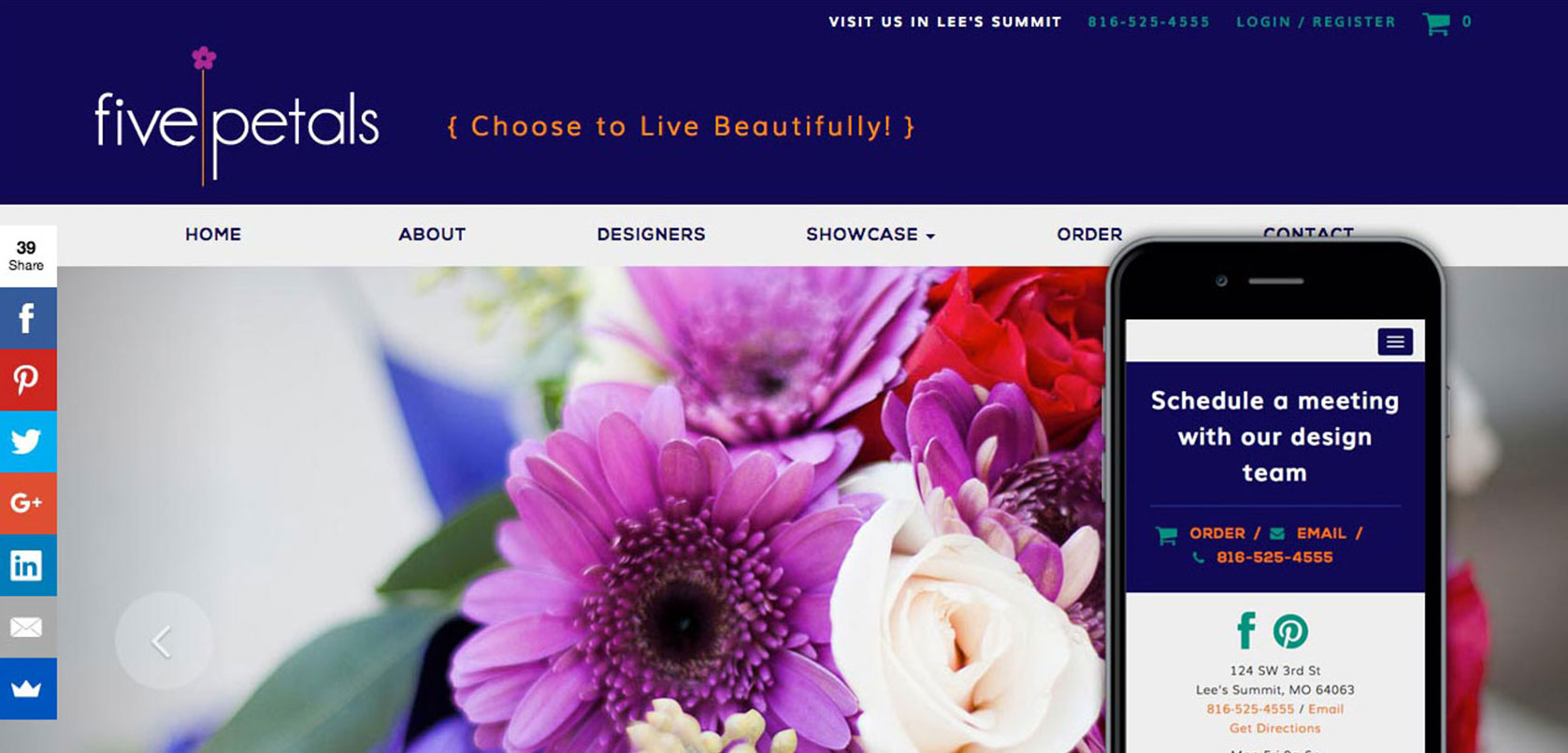 Five Petals Floral Website Design